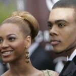 Singer Beyonce and Mario arrive at the 47th annual Grammy Awards
