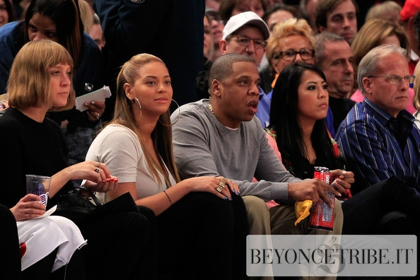 Beyonc &amp; Jay-Z at the New York Knicks basketball game - 20 Feb 2012