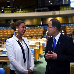 BEYONCÉ MEETS SECRETARY GENERAL BAN KI MOON AT THE UN GENERAL ASSEMBLY HALL