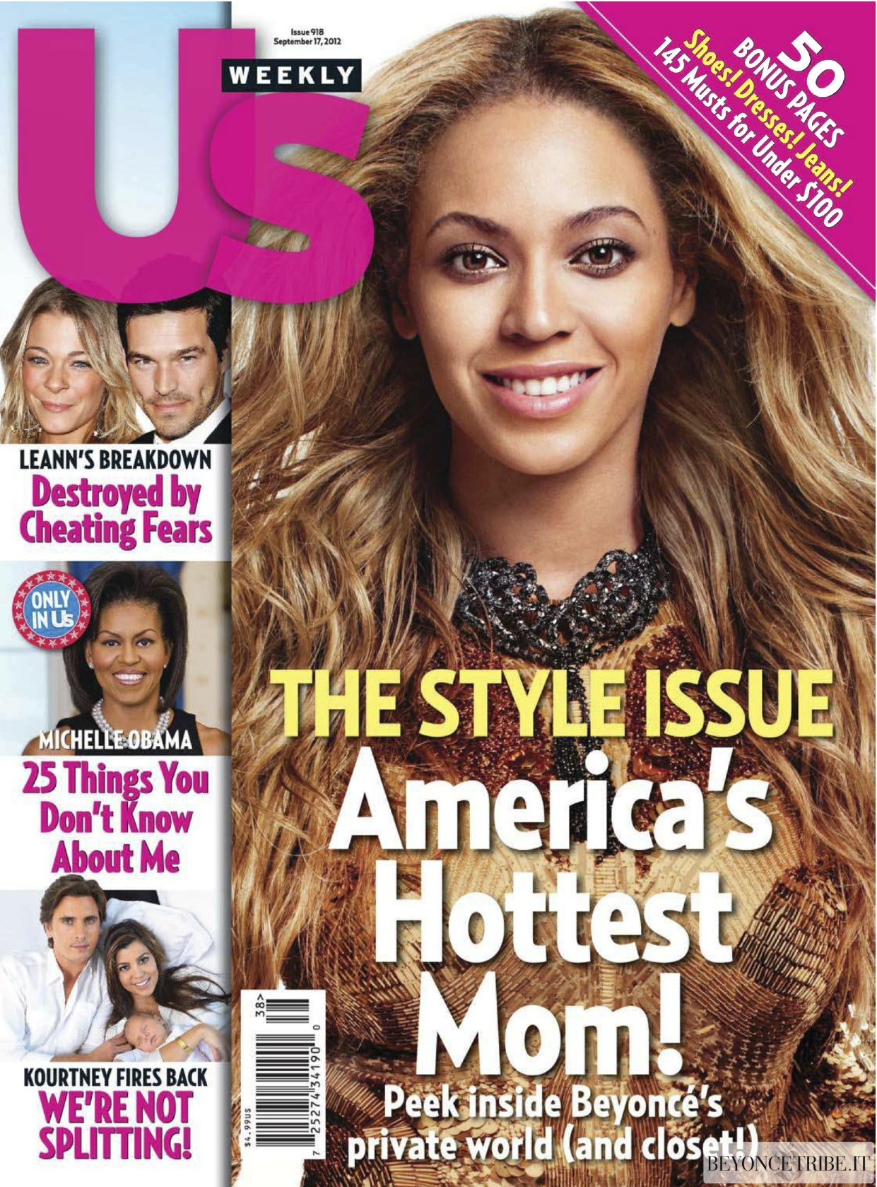 Beyonc on the cover of Us Weekly magazine 17 Sept 2012