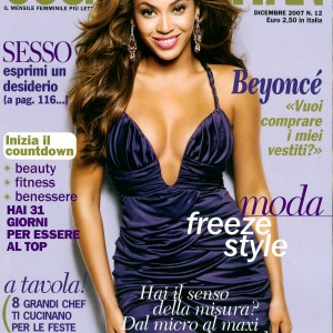 Beyoncé on the cover of Cosmopolitan Magazine - Italia Dec 2007Cover