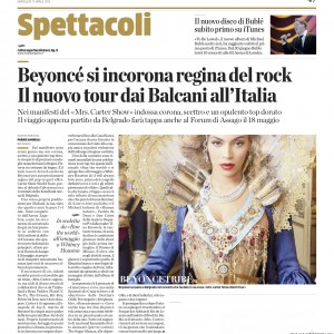 Beyoncé article scans Italy newspaper L'Eco di Bergamo - 17 april 2013