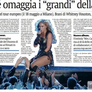 Beyoncé article scans Italy newspaper La Sicilia 17 april 2013