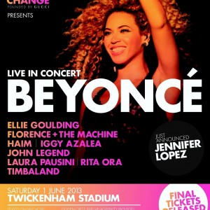 Beyoncé on promo poster of Chime for Change - 2013